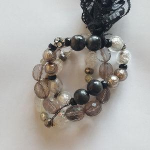 Jewelry - Three strand bracelet with lace bow embellishment